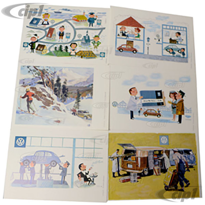 ACC-C10-9800 - GENUINE VW OFFICIAL VINTAGE POST CARD SET - 6 PIECES - (VERY COLLECTIBLE)