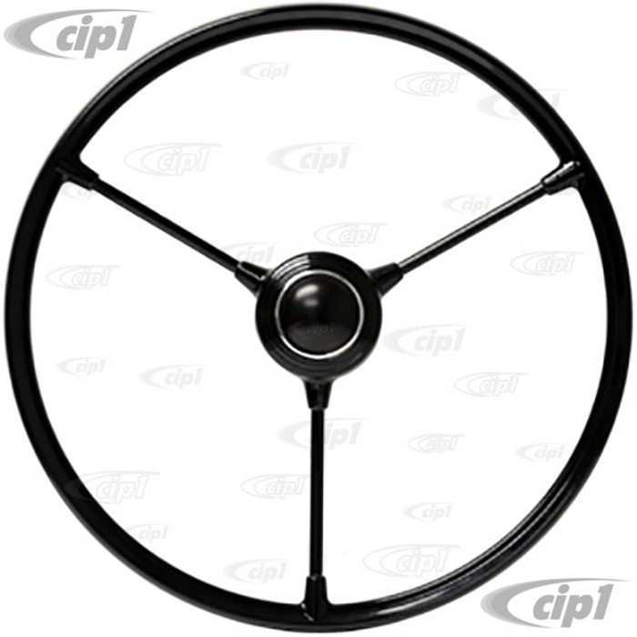 VWC-211-415-651 - (211415651) - EXCELLENT QUALITY REPRODUCTION - BLACK BARNDOOR STEERING WHEEL - WILL FIT ALL BUS 53-67 - WITH HORN BUTTON - SOLD EACH