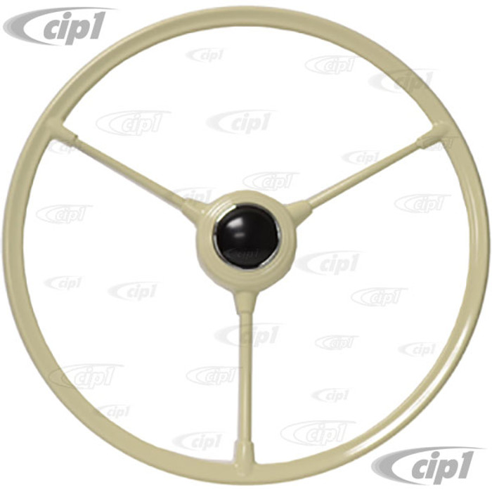 VWC-211-415-651-IV - (211415651) - NEW REPRODUCTION IVORY BARNDOOR STEERING WHEEL - WILL FIT ALL BUS 53-67 - WITH HORN BUTTON - SOLD EACH