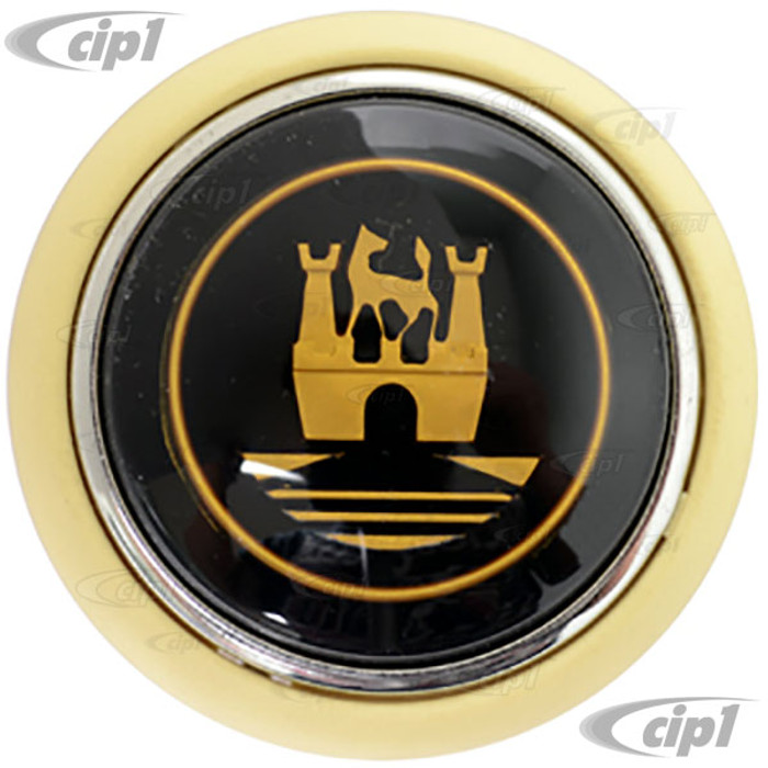 VWC-211-415-669-IV (211415669) - IVORY HORN BUTTON WITH GOLD CASTLE CREST - BUS 55-67 - BEETLE 56-59 - SOLD EACH