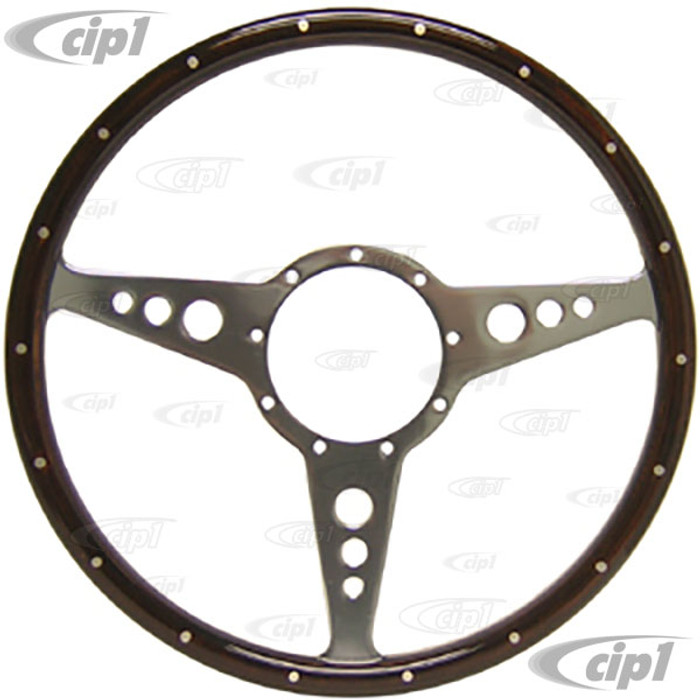 ACC-C15-3327 - MWS 14 INCH CLASSIC WOOD-RIMMED STEERING WHEEL - FLAT WITH HOLES (SUITABLE FOR BEETLE/GHIA/TYPE-3)