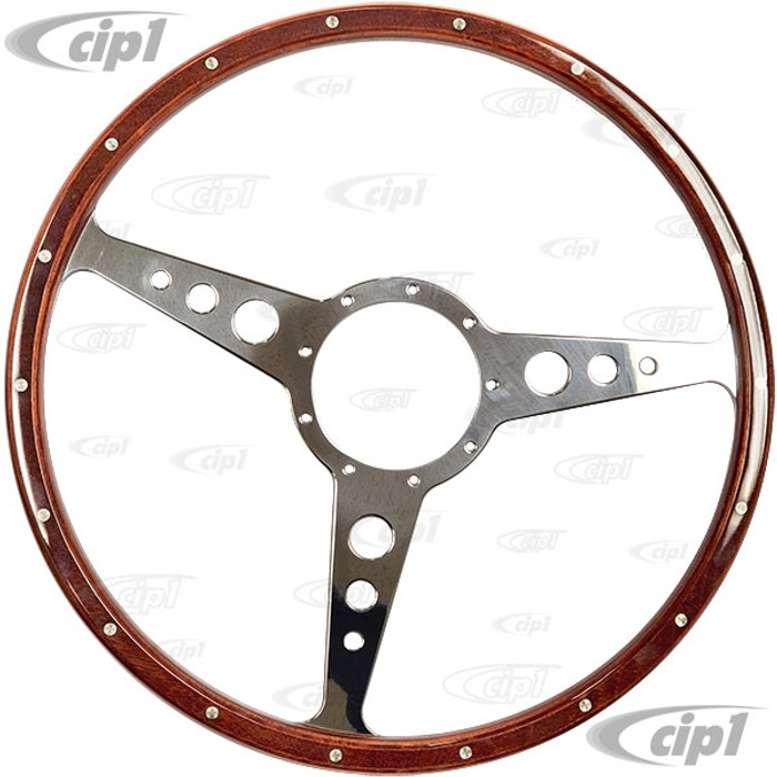 ACC-C15-3331 - MWS 16 INCH CLASSIC WOOD-RIMMED STEERING WHEEL - FLAT WITH HOLES (SUITABLE FOR BUS MODELS) - SOLD EACH