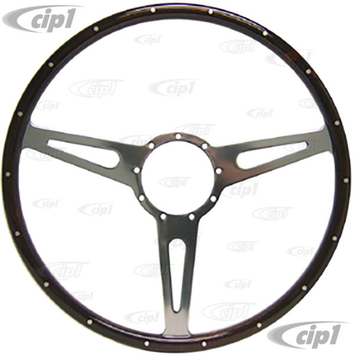 ACC-C15-3333 - MWS 17 INCH CLASSIC WOOD-RIMMED STEERING WHEEL - FLAT WITH SLOTTED SPOKES (SUITABLE FOR BUS MODELS)
