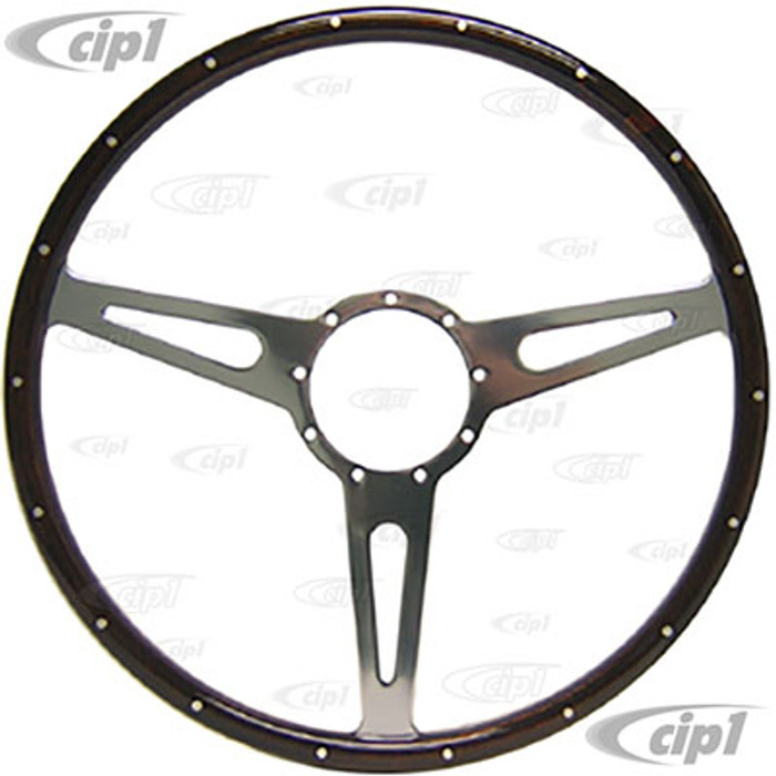 ACC-C15-3334 - MWS 17 INCH CLASSIC WOOD-RIMMED STEERING WHEEL - DISHED WITH SLOTTED SPOKES (SUITABLE FOR BUS MODELS)