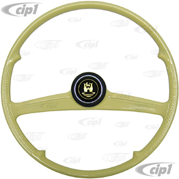 ACC-C15-3491 - NICE REPRODUCTION OF PETRI ROMETSCH STYLE STEERING WHEEL WITH HORN BUTTON - WITH SPLINES TO BEETLE OR GHIA TO 1959 - SOLD EACH