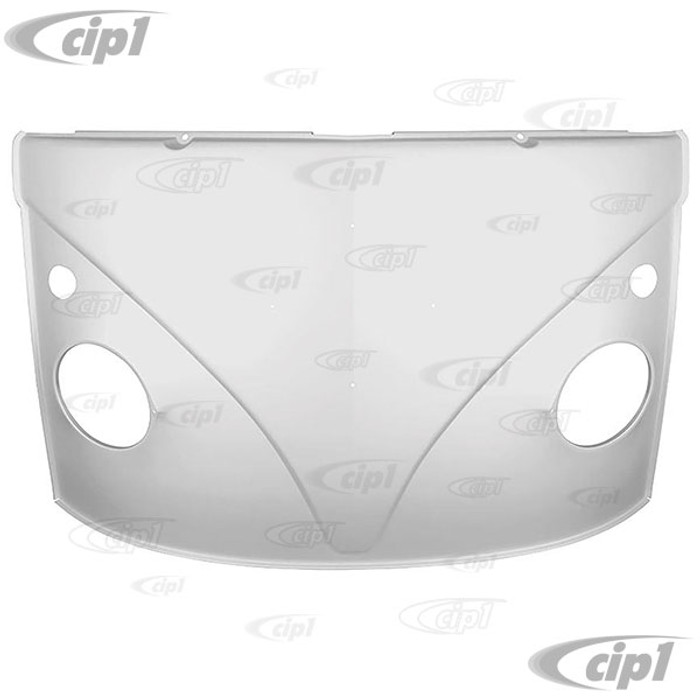 VWC-211-805-035-B - (211805035B) SILVER WELD-THROUGH PRIMER - COMPLETE FRONT NOSE PANEL WITHOUT LOWER WINDSHIELD FRAME (WITH TURNSIGNAL HOLES CUT-OUT) - BUS 59-63 - SOLD EACH