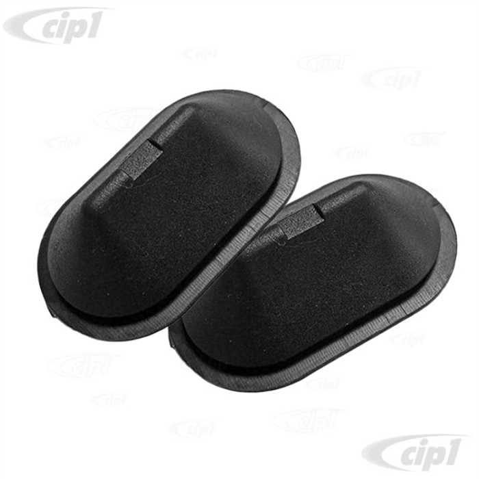 VWC-211-809-507 - (211809507) GERMAN - PAIR OF OVAL RUBBER HOLE PLUGS - 12.5MM x 26MM - BOTTOM OF B-PILLAR AND DOORSTEP - BUS 68-79 B-PILLAR 2 REQUIRED - T25 VANAGON 80-91 B/C-PILLARS ALSO PICKUP DROPSIDES - SOLD PAIR
