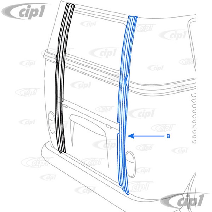 VWC-211-813-422-A - (211813422A) SILVER WELD-THROUGH PRIMER - COMPLETE RIGHT D-POST - BUS 50-63 - SOLD EACH