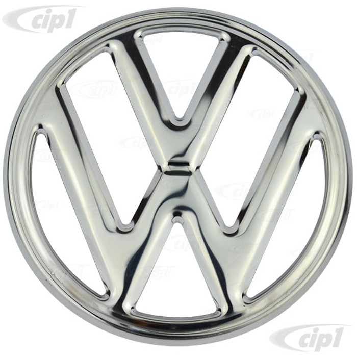 VWC-211-853-601-B - (211853601B) - CHROME STAINLESS STEEL - NOSE EMBLEM 9-3/4 INCH DIA.(USES C16-211-615 CLIPS SOLD SEP.) - VW BUS 68-72-1/2 - SOLD EACH