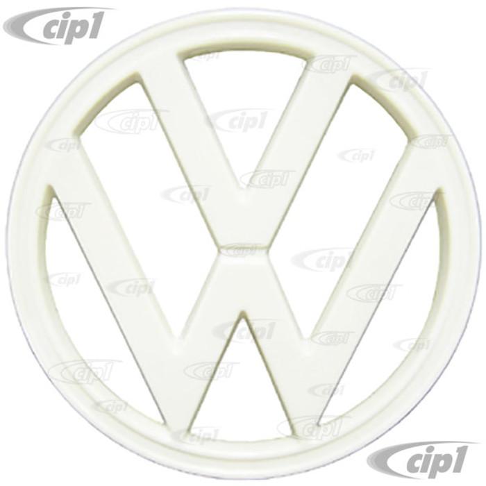 VWC-211-853-601-E - OE GERMAN VW - VW FRONT NOSE EMBLEM - WHITE PLASTIC - 73-79 BUS 7 INCH DIAMETER - SOLD EACH