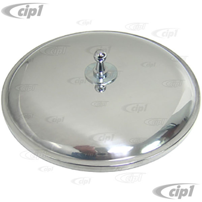 VWC-211-857-513 - (211857513) TOP QUALITY POLISHED ALUMINUM OUTSIDE MIRROR ROUND LEFT OR RIGHT - BUS 50-67 - SOLD EACH