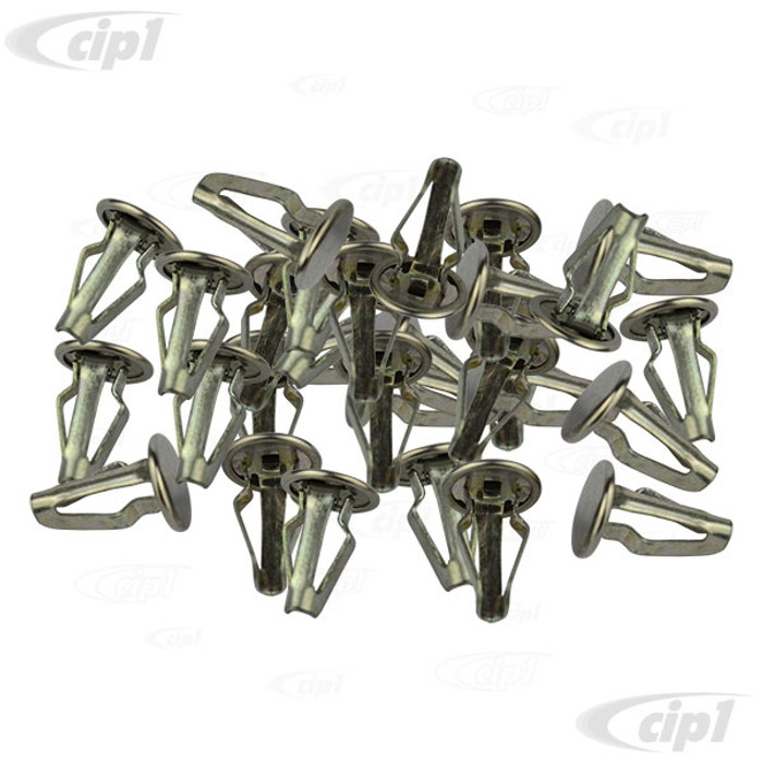 VWC-211-867-615-A30 - (211867615A) GERMAN - SET OF 30 DOOR PANEL CLIPS - CHROME HEAD - BUS 65-79 - SOLD SET OF 30