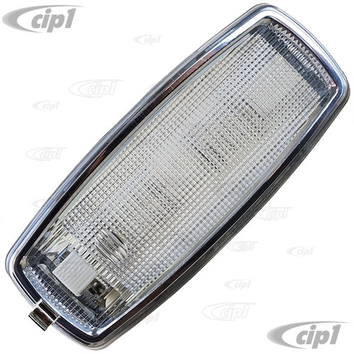 VWC-211-947-111-B - (211947111B) EXCELLENT QUALITY - INTERIOR DOME LIGHT ASSEMBLY WITH CHROME BEZEL (BULB NOT INCLUDED) - BUS 68-75 (WILL ALSO FIT 76-79 - VANAGON 80-91 WHICH DID NOT COME WITH THE CHROME TRIM) - SOLD EACH