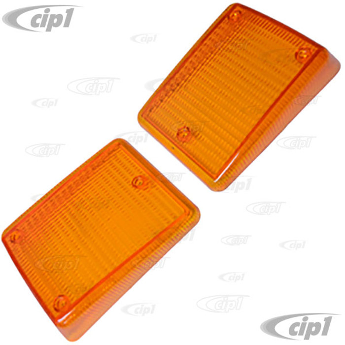 VWC-211-953-141-TPR - (211953141T) - PAIR OF FRONT TURN SIGNAL LENSES - AMBER - FITS LEFT AND RIGHT - BUS 73-79 - SOLD PAIR