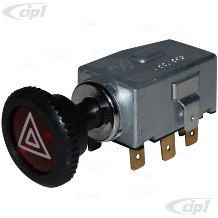 VWC-211-953-235-AWK - (211953235A) EMERGENCY FOUR WAY FLASHER SWITCH WITH KNOB / NUT (READ SPECIAL NOTE BEFORE PURCHASE) - STD BEETLE 68-73 / SUPER BEETLE 71-72 / GHIA 68-74 / BUS 68-72 / TYPE-3 68-73 - SOLD EACH