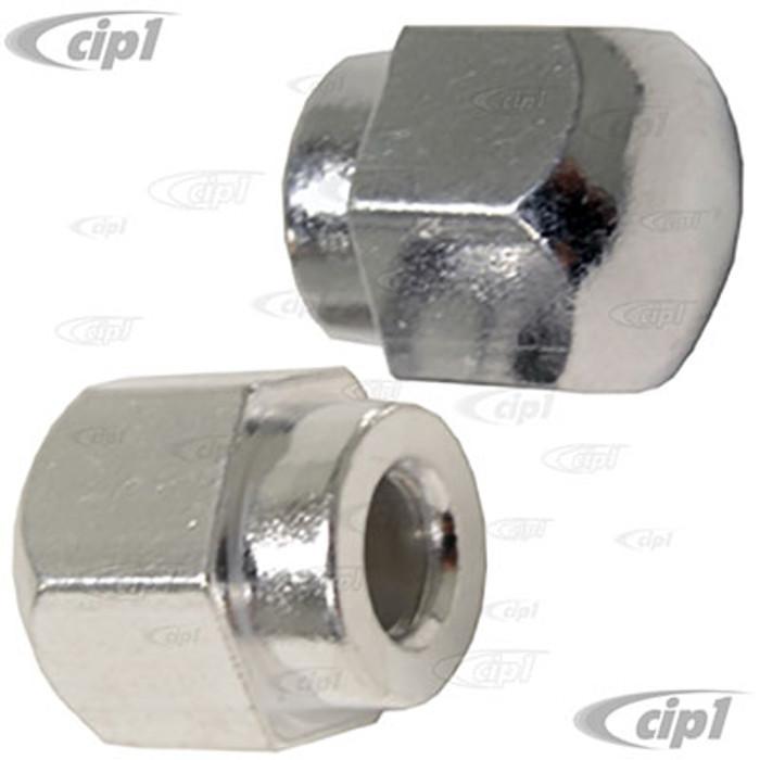VWC-211-955-417-APR - (211955417A) GERMAN MADE - SILVER WIPER ARM CAP NUTS - BEETLE 70-72 / GHIA 70-72 / BUS 69-72 - SOLD PAIR
