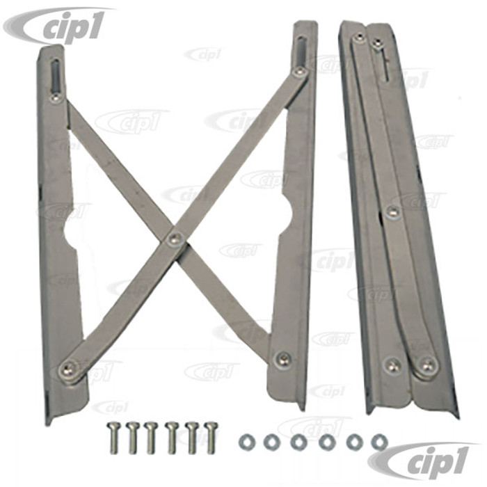 VWC-231-999-071 - (J40446) EXCELLENT REPRODUCTION FROM THE U.K. - WESTFALIA POP-TOP STAINLESS STEEL HINGE ASSEMBIES (POP-TOP OPENS FROM REAR) - BAY WINDOW BUS T2 68-73 - SOLD SET
