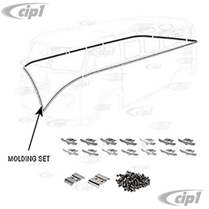 VWC-241-898-002-LKT - (241898001) POLISHED ALUMINUM DELUXE 64-67 BUS BODY MOLDING TRIM KIT - FOR LHD VEHICLES (SEE SPECIAL NOTES BEFORE ORDERING) - INCLUDES HARDWARE AND MOLDING INSERT - AROUND BELT LINE - SOLD KIT