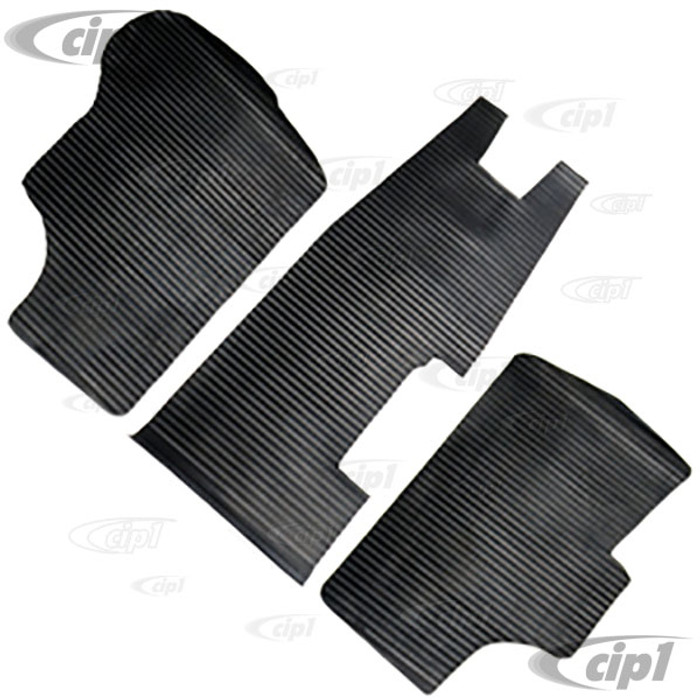 VWC-251-863-711-RSET - 3 PIECE FRONT CAB RUBBER FLOOR MAT SET - INCLUDES CENTER AREA BETWEEN FRONT SEATS- FOR RIGHT HAND DRIVE VANAGON 80-91 - 3 PIECE SET