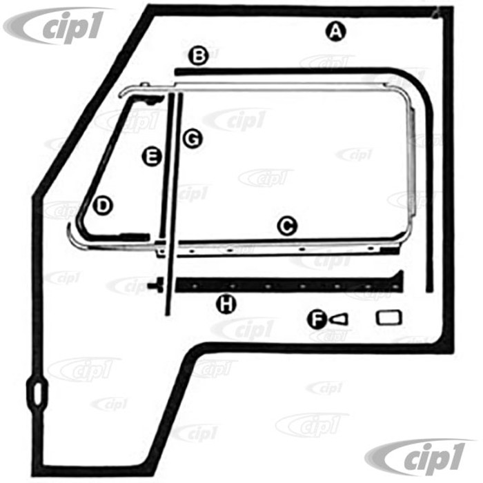 A48-8352 - COMPLETE GERMAN QUALITY - DOOR SEAL KIT - FOR BOTH LEFT AND RIGHT DOORS -  MOSTLY GERMAN AND SEALS (BUT NOT ALL) - BUS 68-79 SEE NOTES ABOUT 1968 BUS - SOLD KIT