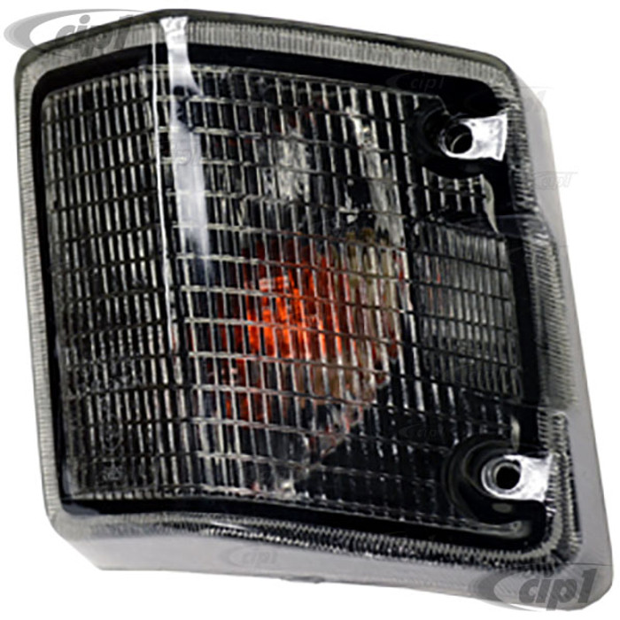 VWC-251-953-141-BSMK - (251953141B) - EXCELLENT REPRODUCTION WITH E-MARK - SMOKED FRONT TURN SIGNAL LENS WITH HOUSING - LEFT - VANAGON 80-91 - SOLD EACH