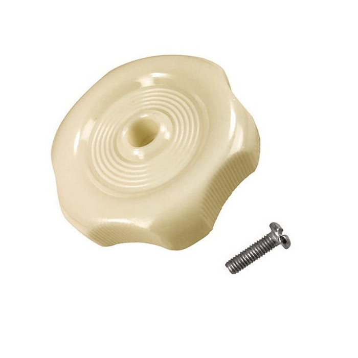 VWC-253-070-937-ASC - (253070937A) - LOUVER WINDOW KNOB WITH SCREW - CREAM/BEIGE - BUS 68-79 - SOLD EACH