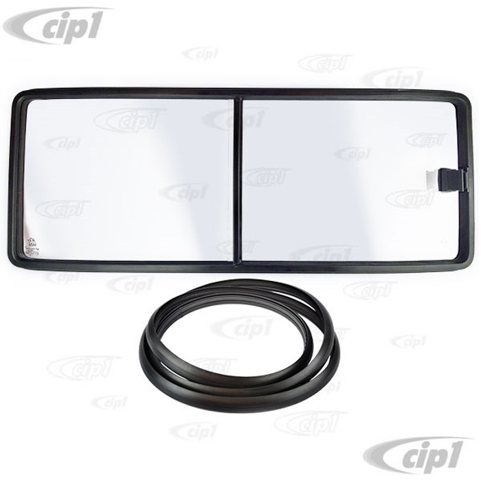 VWC-253-847-707 - (253847707) JK BRAND J40251 - SLIDING WINDOW FOR THE LEFT MIDDLE OPPOSITE RIGHT SIDE SLIDING DOOR - LHD WITH SEAL - CLEAR WITHOUT TINT (WINDOW MEASURES 1073.5MM LONG) - VANAGON 80-91 - SOLD EACH