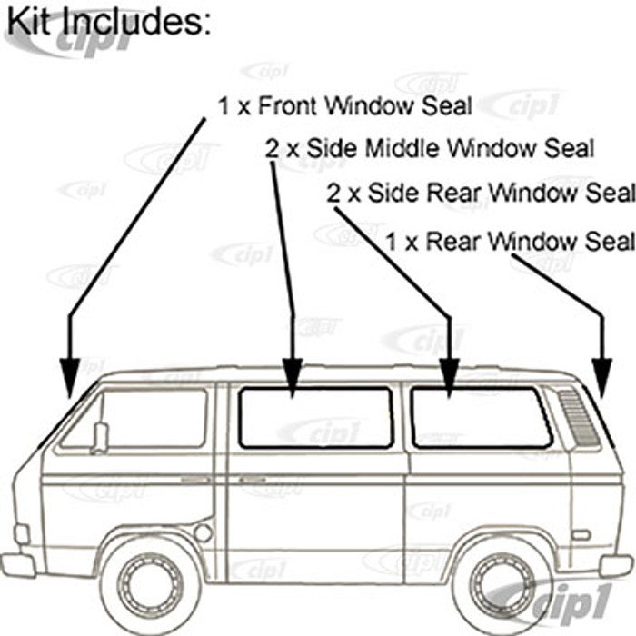 VWC-255-898-121-A - (255-845-121 255845121) GENUINE GERMAN - COMPLETE 6 PIECE WINDOW SEAL KIT - WITH GROOVE FOR CHROME TRIM (SOLD SEP. C16-175-345) - VANAGON 85-91 - SOLD SET