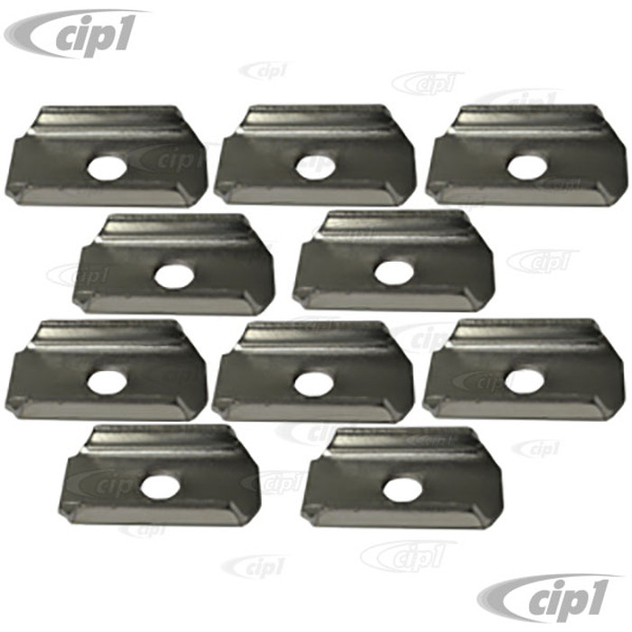 VWC-311-899-131-10 - (311899131) GERMAN - SET OF 10 CHASSIS TO BODY BOLT PLATES / SPACERS - BEETLE 46-79 / GHIA 56-74 / TYPE-3 62-74 (COLOR MAY VARY) - SOLD SET OF 10