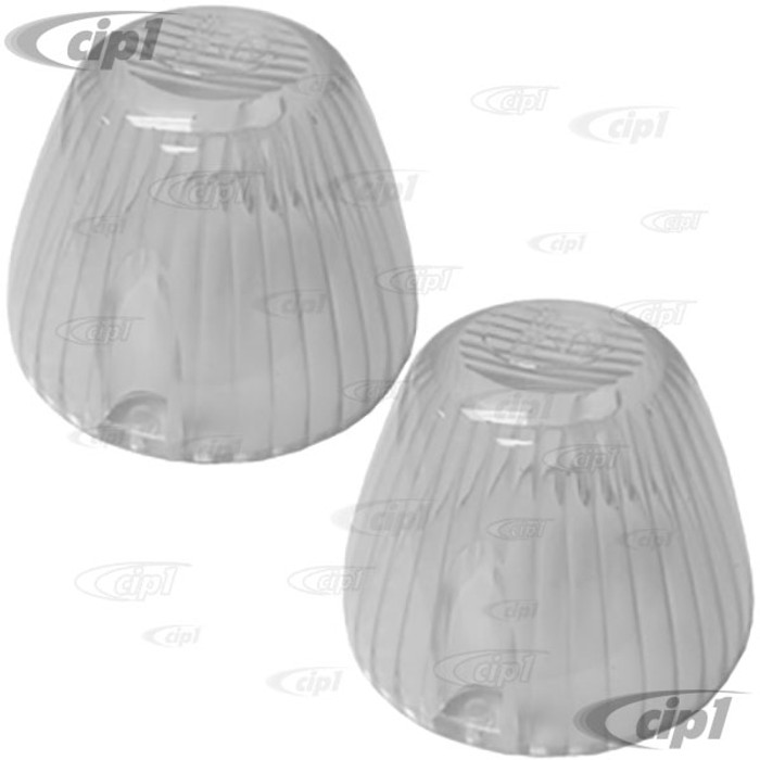 VWC-315-953-161-DCL2 - PAIR OF FRONT TURN SIGNAL LENS - CLEAR - LEFT OR RIGHT - GHIA 65-69 / TYPE 3 62-63 & 68-69 - SOLD PAIR