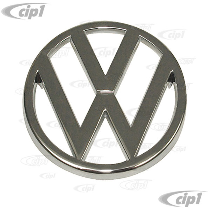VWC-321-853-601 - (321853601) OE GENUINE VW - CHROME FRONT GRILL EMBLEM (95MM - 3.75 IN. DIAMETER) - VANAGON 80-87 - RABBIT/GOLF/JETTA/SCIROCCO 75-83 - CONVERTIBLE 80-87 - SOLD EACH