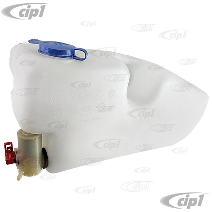 VWC-BAA-955-449-A - (BAA955449A 113955449A) GENUINE VW MEXICO - WASHER BOTTLE WITH PUMP - INSIDE FENDER MOUNT (NLA AT VW - LAST STOCK AVAILABLE) - STANDARD BEETLE 67-77 - SOLD EACH