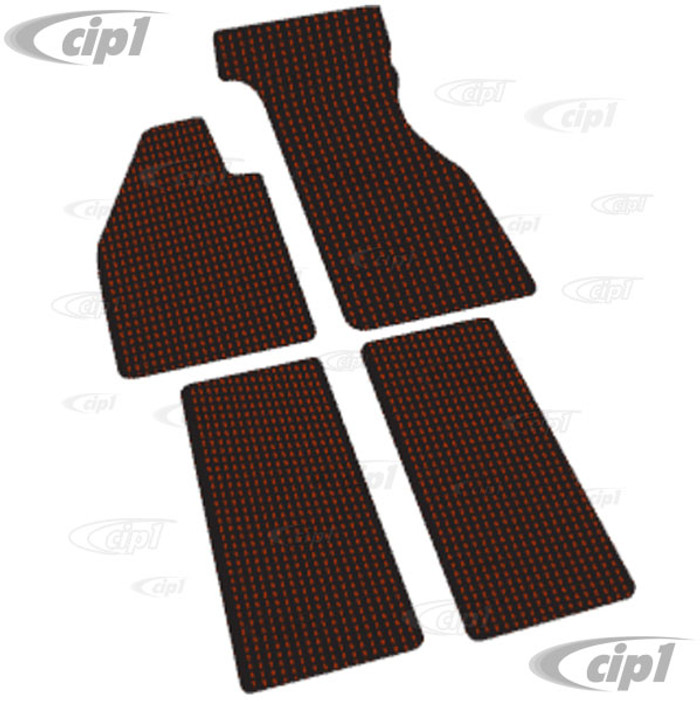 VWC-ZVW2BRD - RED AND BLACK COCO MAT SET - CUSTOM TAILORED WITH VINYL EDGING AND LATEX BACKING (FITS CARS WITH METAL FOOT REST) - BEETLE 60-72 - SOLD SET OF 4