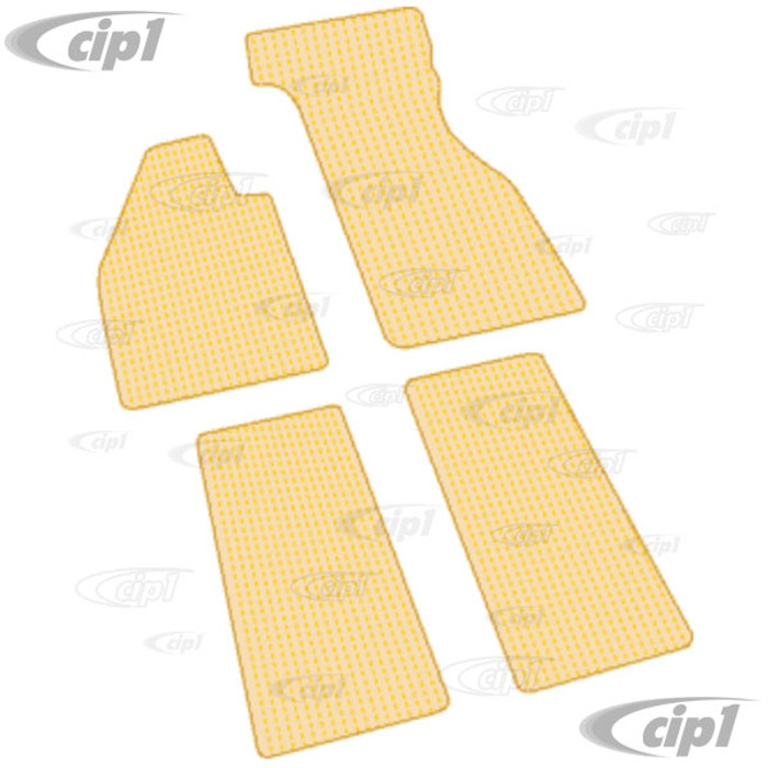 VWC-ZVW2BTN - NATURAL TAN AND BEIGE COCO MAT SET - CUSTOM TAILORED WITH VINYL EDGING AND LATEX BACKING (FITS CARS WITH METAL FOOT REST) - BEETLE 60-72 - SOLD SET OF 4
