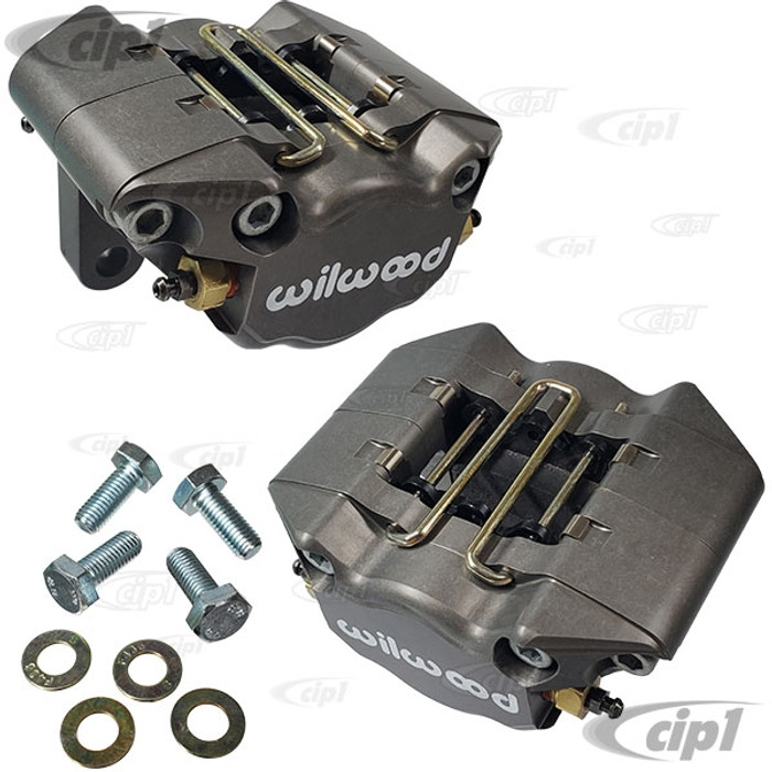 C13-16-2526 EMPI/WILWOOD - SILVER/GREY - 2 PISTON CALIPER CONVERSION KIT WITH BRAKE PADS AND MOUNTING BOLTS (REPLACES ALL POPULAR BEETLE/GHIA DISC BRAKE CALIPERS) - SOLD SILVER PAIR