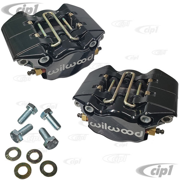 C13-16-2526-B - EMPI/WILWOOD - BLACK - 2 PISTON CALIPER CONVERSION KIT WITH BRAKE PADS AND MOUNTING BOLTS (REPLACES ALL POPULAR BEETLE/GHIA DISC BRAKE CALIPERS) - SOLD BLACK PAIR