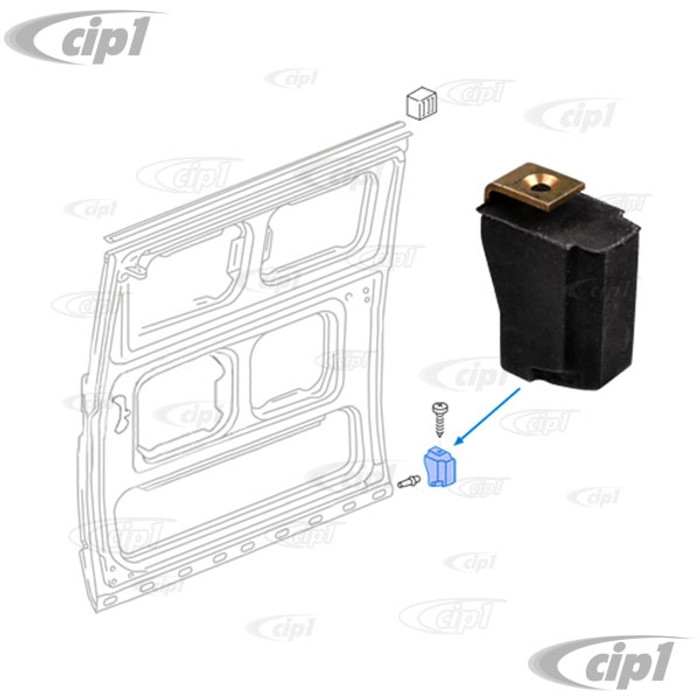VWC-251-843-312-A - (251843312A) GERMAN MADE - REAR OF SLIDING DOOR LOWER RUBBER BUMP STOP - T25 VANAGON - 80-92 - SOLD EACH