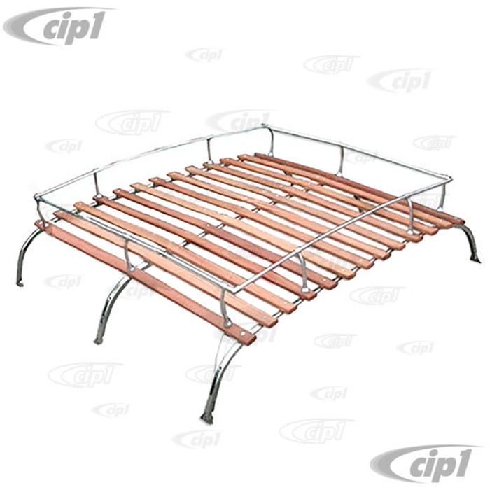 C13-15-2011-3SS - CIP1 EXCLUSIVE - STAINLESS STEEL 3 BOW VINTAGE STYLE ROOF RACK WITH ROSE COLORED WOOD BOWS - KNOCK-DOWN STYLE AND SHIPPABLE BY UPS - BUS 52-79 - SOLD EACH