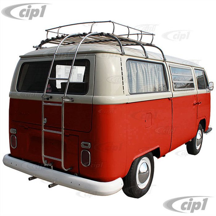C26-898-060 - STAINLESS STEEL FOLDING ROOF LADDER  - REAR MOUNT - (MUST HAVE ROOF RACK FOR THIS TO CLAMP TOO) - BUS 50-79 - SOLD EACH