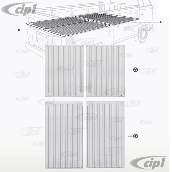 VWC-261-801-475-PR - (261801475) - SILVER WELD-THROUGH PRIMER - FRONT 2 PANELS OF PICKUP BED FLOOR (AS PICTURED A) - BUS 53-67 - SOLD FRONT 2 PANELS