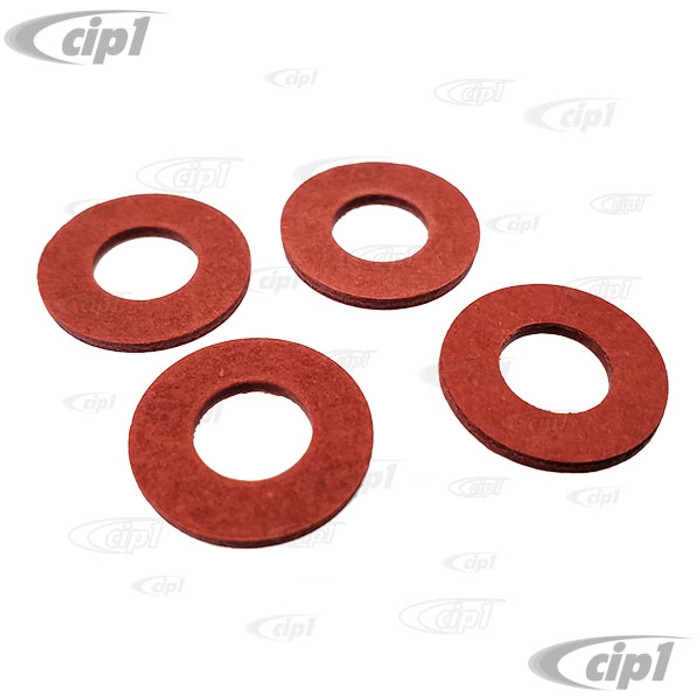 C33-SS0019-SET - (211-837-659 211837659) - GERMAN QUALITY FROM C&C U.K. - RED FIBER WASHER FOR VENT WINDOW - ALSO MIRROR ARM - 4 REQUIRED PER ARM OR WINDOW - BUS 52-67 - SET OF 4