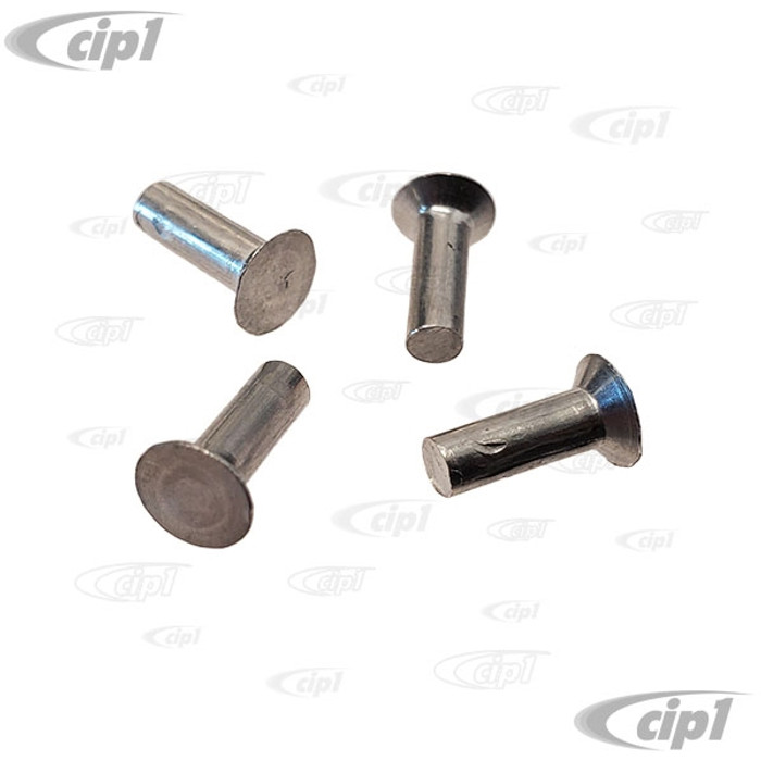 C33-S00298-SET - (N137363) - GERMAN QUALITY FROM C&C U.K. - VENT WINDOW MOUNTING RIVETS TO SECURE VENT LATCH TO WINDOW FRAME - 4 PER VEHICLE REQUIRED - BEETLE/GHIA 52-79 - BUS 53-79 - TYPE-3 62-74 - SOLD 4 PIECE SET