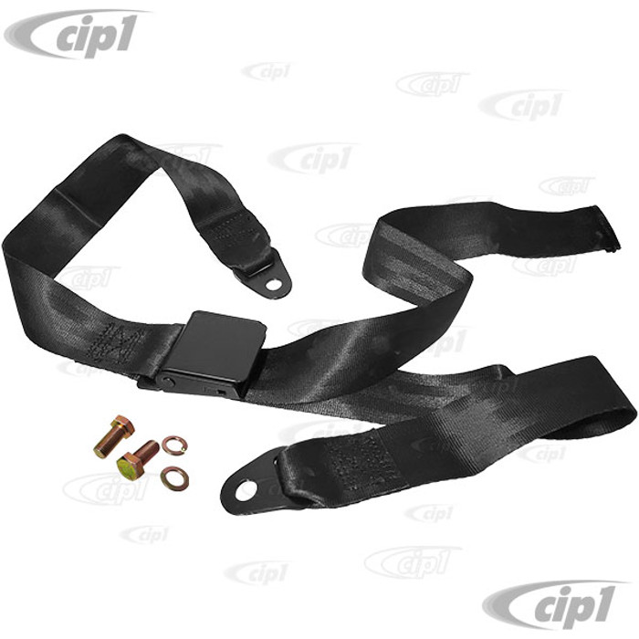C26-857-003FBK - 2 POINT LAP BELT - BLACK BELT WITH BLACK BUCKLE - BUCKLE IS FLAT (NO RECESS) - UNIVERSAL LEFT OR RIGHT – SOLD EACH