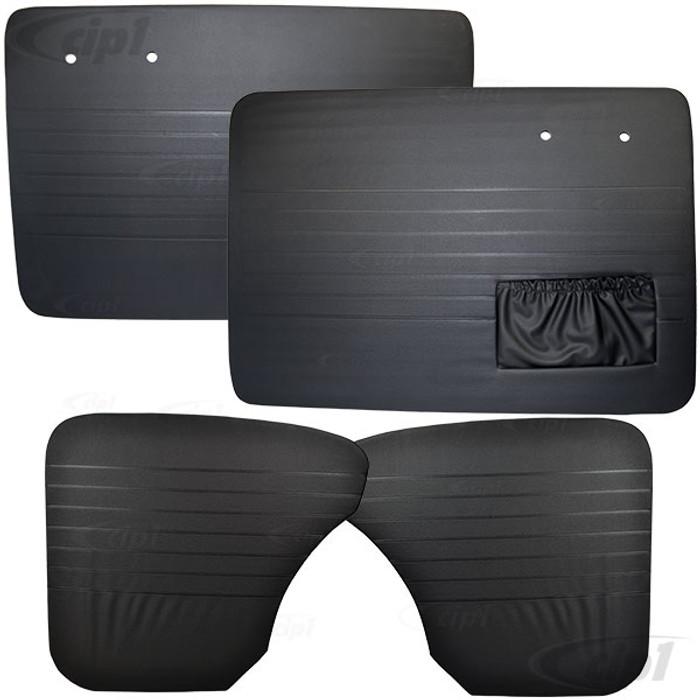VWC-113-898-015-AKS - (113898015A) 4 PIECE DOOR PANEL SET - BEETLE SEDAN 58-64 - BLACK - WITH LEFT SIDE MAP POCKET ONLY - SOLD SET OF 4