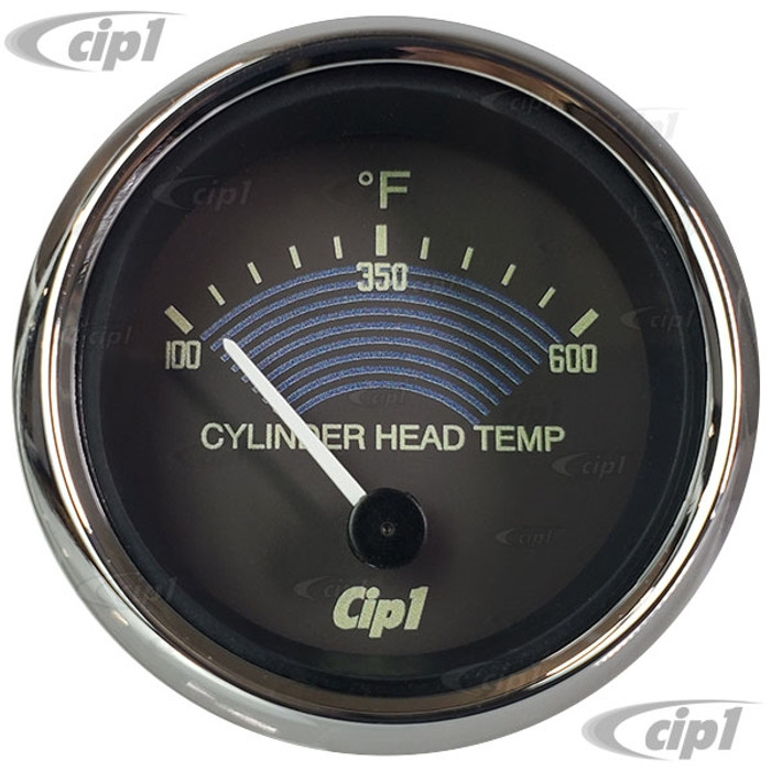 C10-310-901-VT - 310901 - CIP1 EXCLUSIVE -  VINTAGE STYLE W/BROWN FACE/CHROME BEZEL CYLINDER HEAD 600F TEMP GAUGE KIT - 52MM 2-1/16 INCH - WITH 6.6MT (21.5 FOOT) WIRING HARNESS & 14MM SPARK PLUG THERMO COUPLER - BEETLE/KARMANN GHIA/BUS/TYPE-3 - SOLD