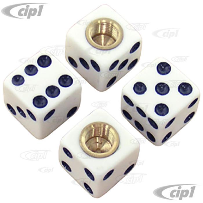 C11-70006 - WHITE DICE VALVE STEM CAPS - SET OF 4