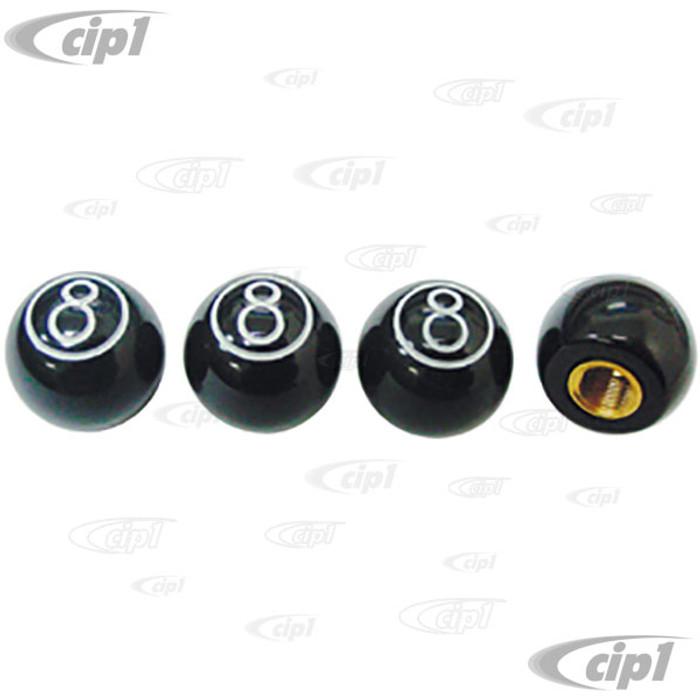 C11-70022 - 8 BALL VALVE STEM CAPS - BLACK WITH WHITE SCRIPT - 7/8 INCH DIAMETER - SET OF 4