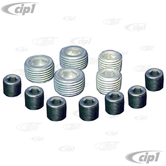 C12-4500-50 - BUGPACK BRAND -ENGINE OIL GALLERY PLUG KIT - ALL DUAL RELIEF BEETLE STYLE CASES