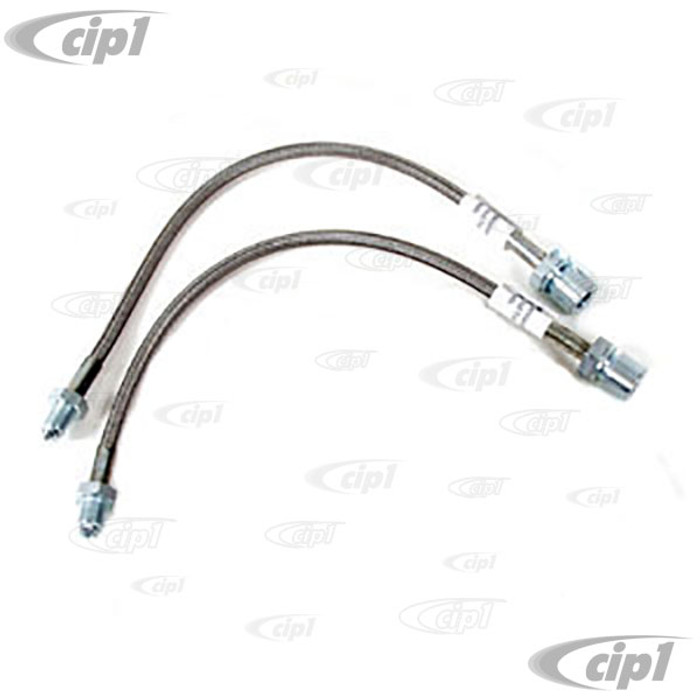 C12-5585-15 - STAINLESS STEEL BRAIDED BRAKE HOSES - 235MM  M/F ENDS - REAR IRS - BEETLE 69-79/GHIA 69-74/TYPE-3 - SOLD PAIR