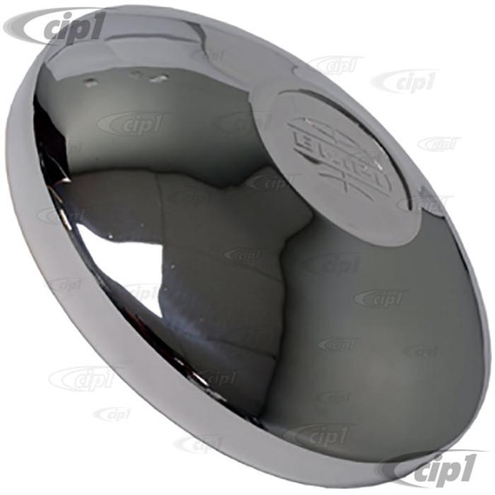 C13-10-1063 - EMPI LOGO CHROME HUB CAP - 4 BOLT WHEEL - BEETLE 68-79 GHIA 66-74 TYPE-3 66-74 BUS 71-92 - SOLD EACH